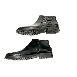 Henry Ferrera Italian Made Blk Leather Ankle Boots
